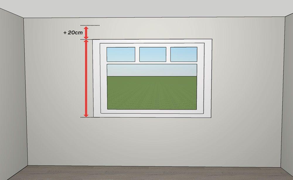 Cómo medir estores - mediciones alto con soporte a pared