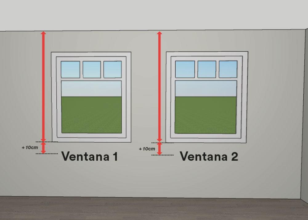 Cómo medir estores - mediciones con soporte a techo