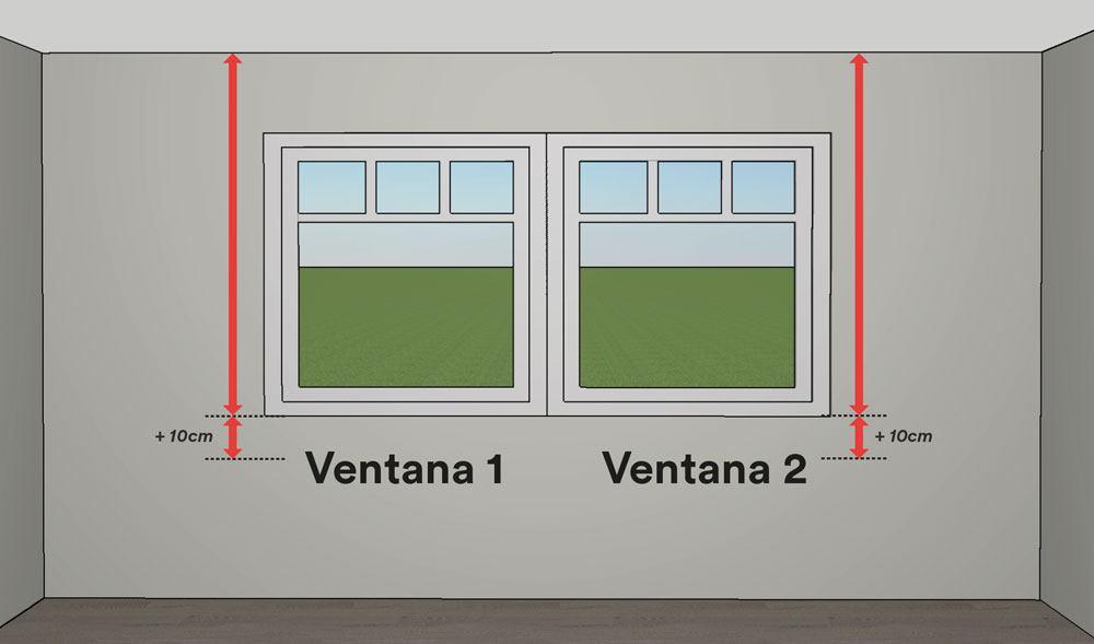 Cómo medir estores - mediciones para dos ventanas