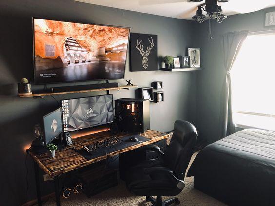 escritorio moderno y oscuro