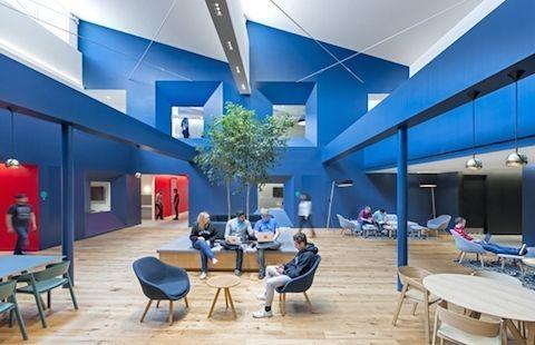 diseño de oficinas en tonos azules