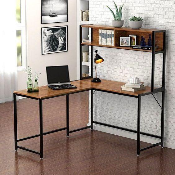 escritorio con estantería
