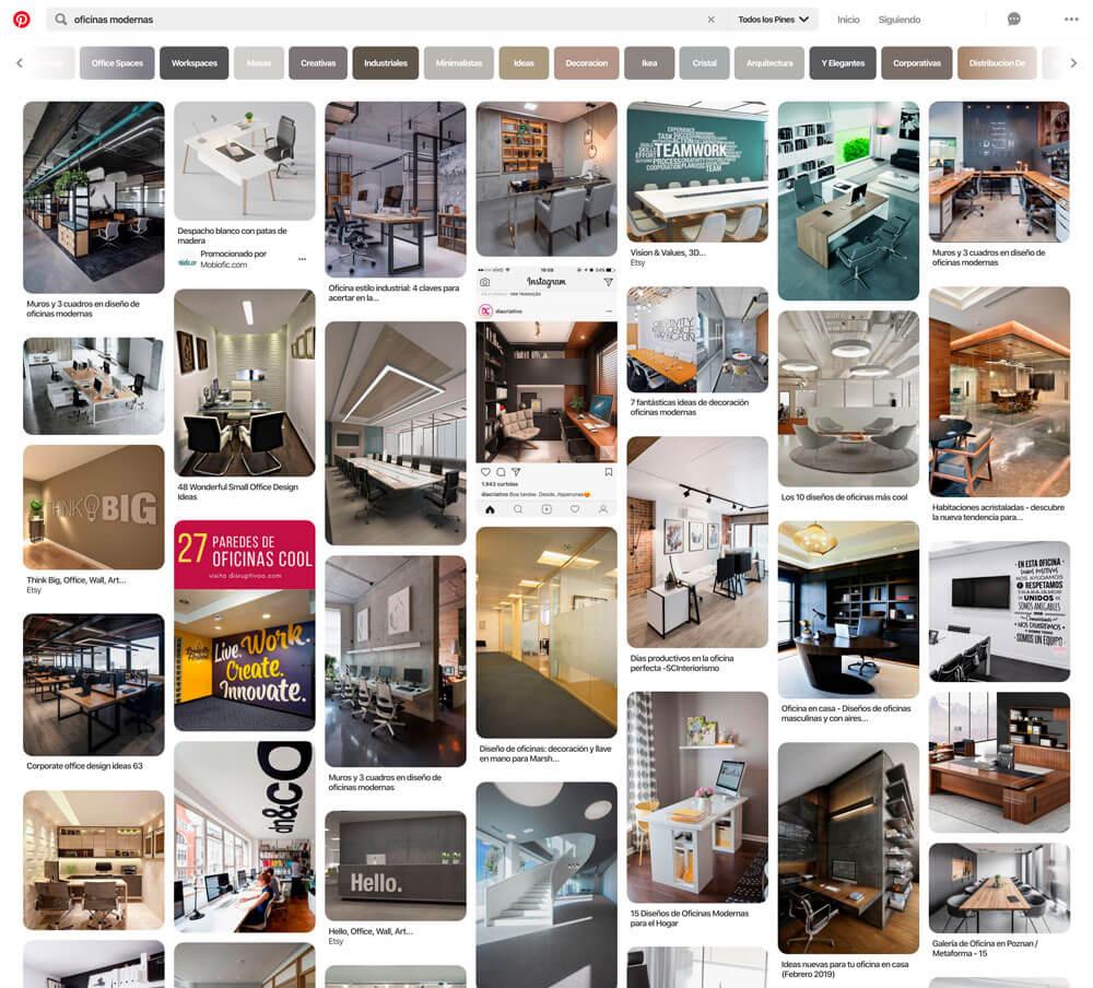 Ejemplos de diseño de oficinas en Pinterest